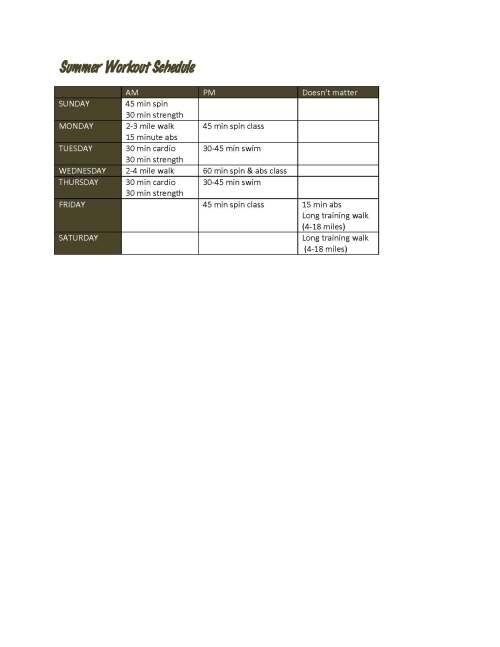 Summer Workout Schedule 2