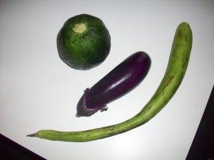 A round zucchini (surprisingly few seeds), an Italian eggplant (nice thin skin that you don't need to peel) and a Cazzucca or Italian Squash (similar to zucchini with a firmer texture and a bit of a citrus bite).