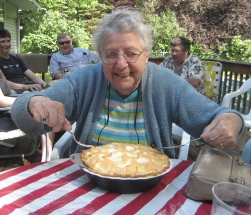 Great Grandma digging into her pre-surgical Lemon Meringue Pie during July 4th festivities.